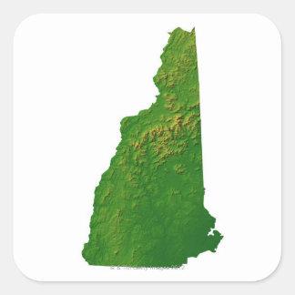 Mapa de New Hampshire Pegatina Cuadrada
