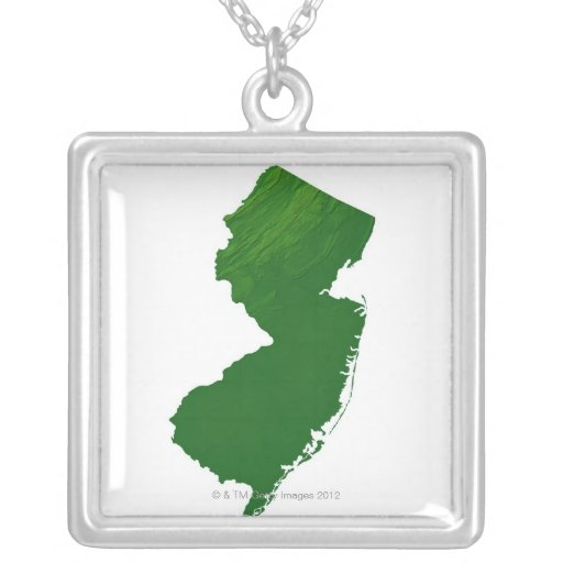 Mapa de New Jersey 2 Colgante Cuadrado