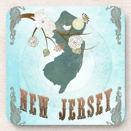 Mapa de New Jersey con los pájaros preciosos Posavaso