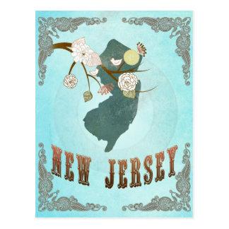 Mapa de New Jersey con los pájaros preciosos Postal