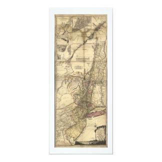 """Mapa de New Jersey Pennsylvania Nueva York (1777) Invitación 4"""" X 9.25"""""""
