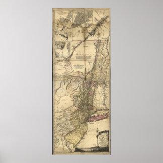 Mapa de New Jersey Pennsylvania Nueva York (1777) Póster
