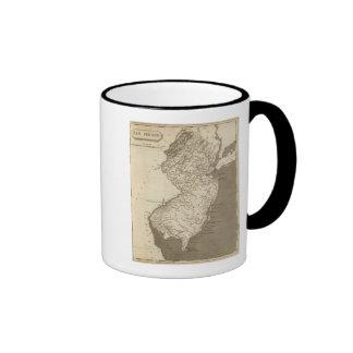 Mapa de New Jersey por Arrowsmith Tazas De Café