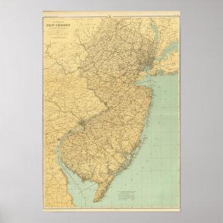 Mapa de New Jersey Póster