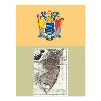 Mapa de New Jersey y bandera del estado Tarjeta Postal
