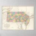 Mapa de New Jersey y de Pennsylvania Póster