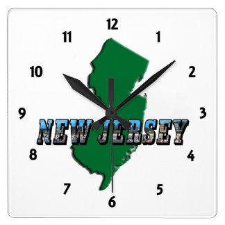 Mapa de New Jersey y reloj del texto de la imagen