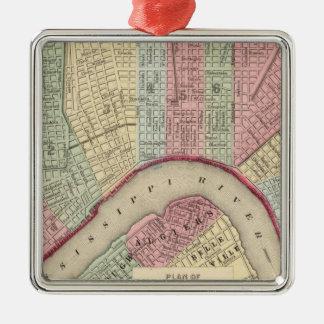 Mapa de New Orleans de Mitchell Adorno Navideño Cuadrado De Metal