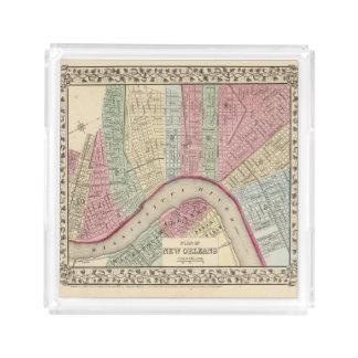 Mapa de New Orleans de Mitchell Bandeja Cuadrada