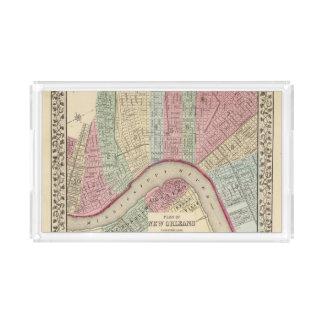 Mapa de New Orleans de Mitchell Bandeja Rectangular