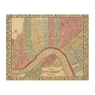 Mapa de New Orleans de Mitchell Cuadros De Madera