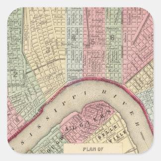 Mapa de New Orleans de Mitchell Pegatina Cuadrada