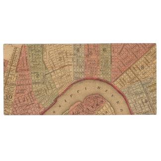 Mapa de New Orleans de Mitchell Pen Drive De Madera USB 2.0