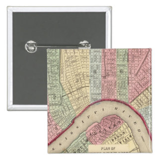 Mapa de New Orleans de Mitchell Pin Cuadrada 5 Cm
