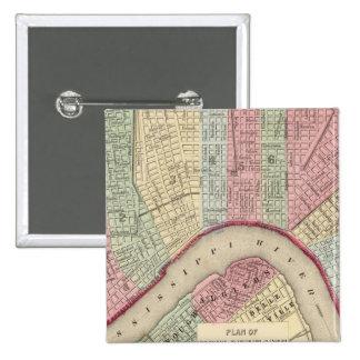 Mapa de New Orleans de Mitchell Pin Cuadrado