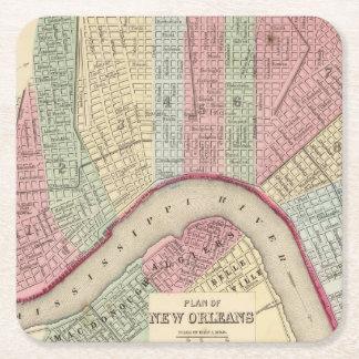 Mapa de New Orleans de Mitchell Posavasos De Cartón Cuadrado