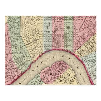 Mapa de New Orleans de Mitchell Postales
