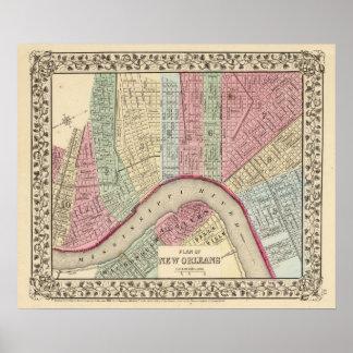 Mapa de New Orleans de Mitchell Póster