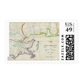 Mapa de New Orleans y del país adyacente Franqueo