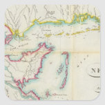 Mapa de New Orleans y del país adyacente Pegatina Cuadrada