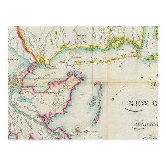 Mapa de New Orleans y del país adyacente Postales