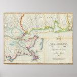 Mapa de New Orleans y del país adyacente Póster