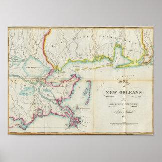 Mapa de New Orleans y del país adyacente Poster