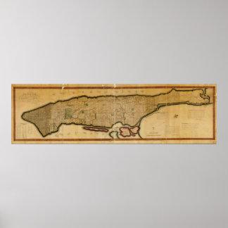 Mapa de New York City de la isla de Manhattan a pa Poster