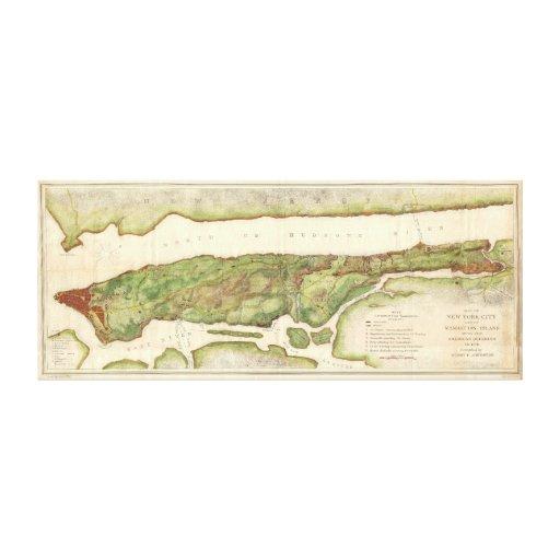 Mapa de New York City durante el mapa revolucionar Lona Estirada Galerías