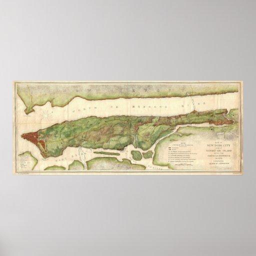 Mapa de New York City durante el mapa revolucionar Posters