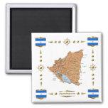 Mapa de Nicaragua + Imán de las banderas