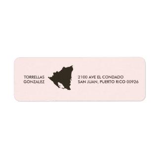 Mapa de Nicaragua: Personalizado: Rosa Etiqueta De Remitente