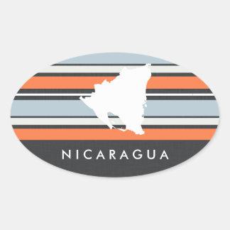 Mapa de Nicaragua: Rayas modernas Pegatina Ovalada