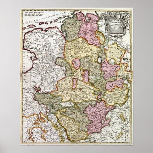 Mapa de Niederrhein-Westfalen Poster
