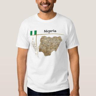 Mapa de Nigeria + Bandera + Camiseta del título Camisas