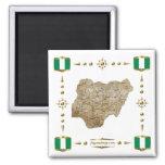 Mapa de Nigeria + Imán de las banderas