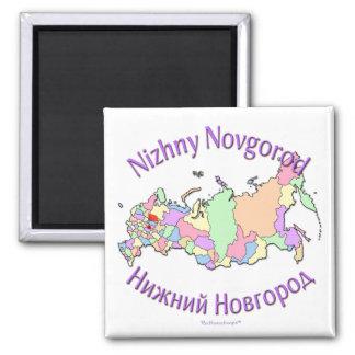 Mapa de Nizhny Novgorod Rusia Imán Cuadrado