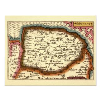 """Mapa de """"Norfolcke"""" el condado de Norfolk Invitación 4.25"""" X 5.5"""""""