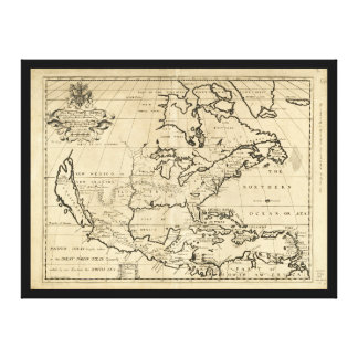 Mapa de Norteamérica (1722) Lona Estirada Galerías