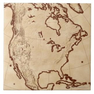 Mapa de Norteamérica 2 Azulejo Cuadrado Grande