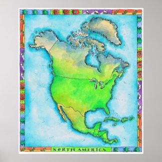 Mapa de Norteamérica 2 Poster