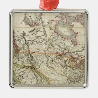 Mapa de Norteamérica 4 Adorno Cuadrado Plateado