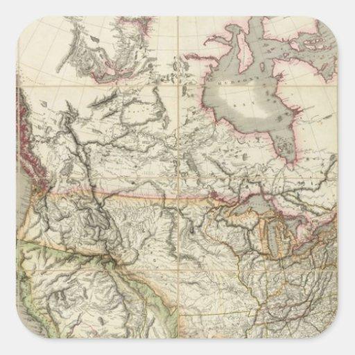 Mapa de Norteamérica 4 Calcomanía Cuadrada