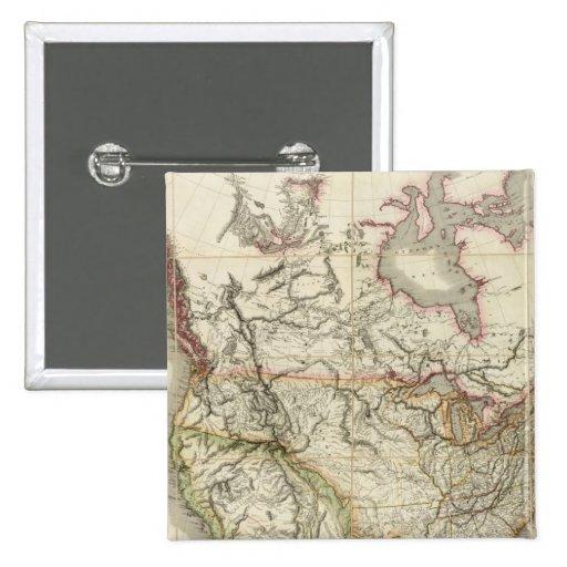 Mapa de Norteamérica 4 Pin Cuadrado