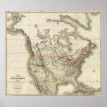 Mapa de Norteamérica 4 Póster