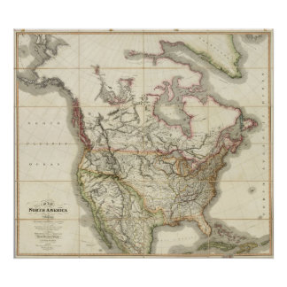 Mapa de Norteamérica 4 Posters