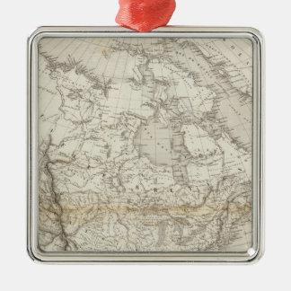 Mapa de Norteamérica Adorno Cuadrado Plateado