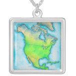 Mapa de Norteamérica Collar Personalizado