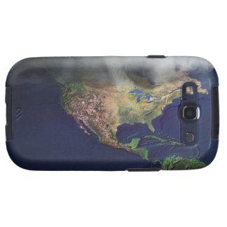 Mapa de Norteamérica con niebla Galaxy S3 Funda
