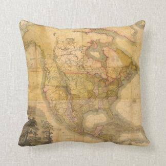 Mapa de Norteamérica de Henry Schenck Tanner 1822 Cojín
